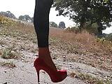 Man walks in his new heels