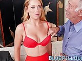 Tempting young slut gangbanged by old men for some cash