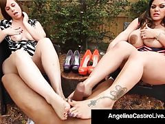 Full Figured Angelina Castro & Virgo Peridot FootFuck Una BBC!
