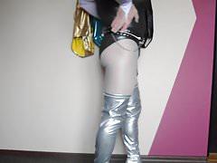 Neue silberne lange High Heels