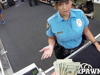 Big Cock Big Tits Babe video: Slutty policewoman fucks with pawnbroker for extra money