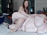 SSBBW Lesbian Fucked with Strapon on Webcam