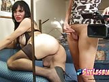 Nikkin Monteroe gets her shelesbian cock sucked POV