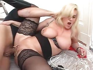 German Stockings Big Natural Tits video: Marina Montana German Saggy Tits Assfucked Black Stockings
