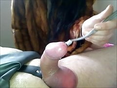 Sub gets his balls used by mistress for sucking cock