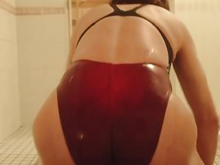 Latex Shemale Hd Videos Ladyboy Shemale video: japanese crossdresser Lotion play in swimsuit5
