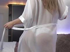 Shaking ass in transparent pajamas