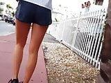 Candid voyeur hot blonde nice legs in gym shorts