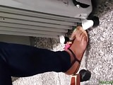 Candid ebony green toes at work 2