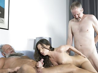 .Old Young Porn Group fucked Teen Takes 2 grandpa cocks.