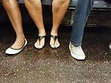 Candid ebony feet w upskirt