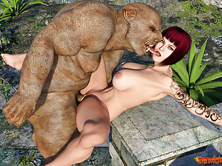 Cartoon Hd Videos video: Pig Monster brutally fucks Busty Redhead MILF. 3D Porn Comic