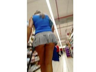 Upskirt Microskirt Huge Ass Thong
