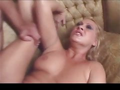 Hot blonde milf fucked in the ass and swallows load