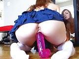 Hot teen siting on huge dildo (masturbation, teen, hot ass)