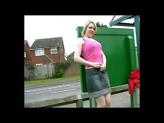 Voyeur Flashing Small Tits video: Public Flashing Changing in Bus Stop and Pissing