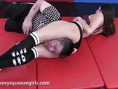 Brazen Headscissor K.O - Head Squeezed Between Sexy Legs