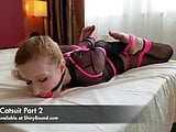 Cobie Hogtied In Her Catsuit