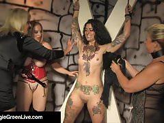 Pani Maggie Green & 2 GFs Whip & Pleasure Tattooed Slave