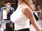 Candid Boobs: Slim Busty Hispanic Women (White Tops) 5