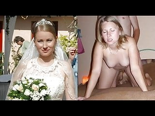 Blowjob Big Cock Milf video: bride wedding dress before during after compilation wife pov