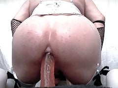 Dildo ride in lingerie and anal orgasm