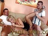 VANGOREN Blonde Whore in sexy dress serving 2 big cocks