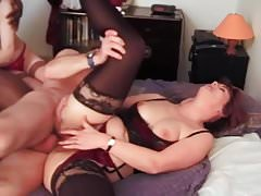 French matures in stockings interracial anal MMF