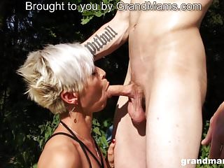 Hot old blonde slut is in the mood to suck some young cock
