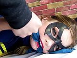 Bound and Gagged Superhero Babe Gets Facial