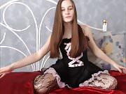 Sexy Teen Brunette Hair Brushing, Striptease, Long Hair