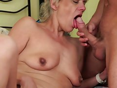 Sexy blonde granny gets fucked by young boy
