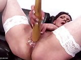 Naughty mature mother bating and piss in bowl