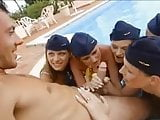 five hot stewardesses let him use their bodies