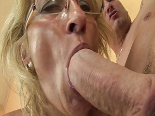 Horny grandma enjoys rimming with stepson