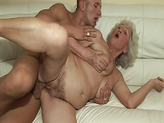 Grannies Sex Toys Dildo video: The first time he fucks a hot granny!