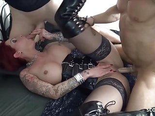 Hardcore Lingerie Facial video: Redhead Lingerie Wife Love MMF Threesome with Younger German