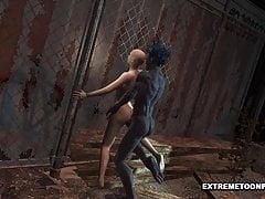 Ogolona 3D Toon Babe zostaje wyruchana przez potwora