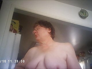 Amateur Bbw video: Topless BBW wife wanders about on her way to fuck husband