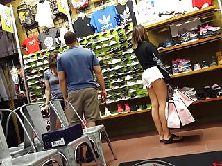 Voyeur Pale Hottie video: Candid voyeur pale thick hottie jean shorts shopping