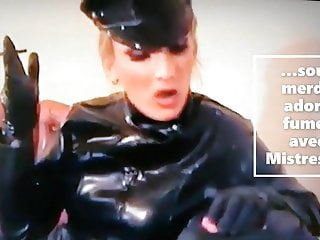 Femdom Latex Humiliation video: loves smoking with Mistress