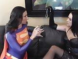 Supergirl licking nylon feet