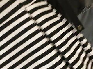 Closeups Upskirts Lingerie video: OL in stripe dress at ATM