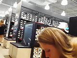 Candid voyeur thick blond sneaker shopping