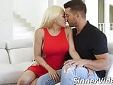 Bimbo stepsister fucks her brother hard till he cums inside