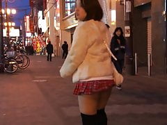 Japanese Obese Lady With Mini Micro-skirt Is Ambling In Crowded C