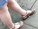 Candid feet - German girl with chubby legs