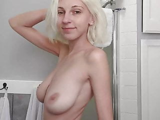 Blonde Babe Big Natural Tits video: Shy blond shows her body