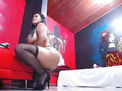 Huge Boobs Latina Stockings Webcam Show