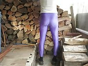 Tight purple spandex.